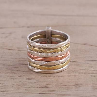 cheap ring stretcher - Sterling Silver Copper and Brass Band Ring from India