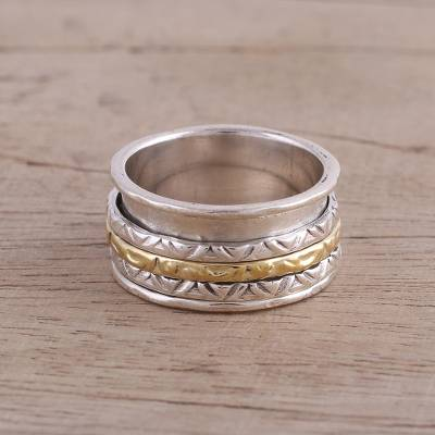 Sterling Silver and Brass Spinner Ring from India