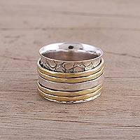 Sterling silver spinner ring, 'Five Rotations' - Handmade Sterling Silver and Brass Spinner Ring from India