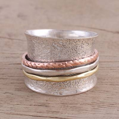 earring organizer book - Sterling Silver India Meditation Ring with Copper and Brass