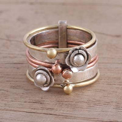 Fair Trade Sterling Silver Copper and Brass Meditation Ring