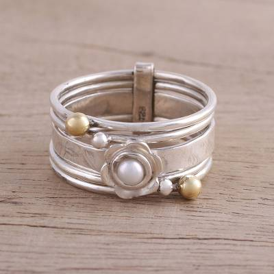 Cultured pearl meditation spinner ring, 'Luminous Floral' - Cultured Pearl and Sterling Silver Meditation Spinner Ring