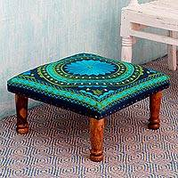 Cotton embroidered foot stool, 'Blue-Green Mandala' - Blue and Green Cotton Embroidered Foot Stool