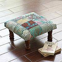 Embellished ottoman, 'Paisley Patch' - Fair Trade Embellished Ottoman Foot Stool from India