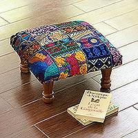Embellished ottoman, 'Blue Paisley Patch' - Fair Trade Embellished Ottoman Foot Stool from India