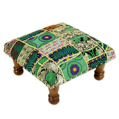 Embellished ottoman, 'Green Paisley Patch' - Embroidered Indian Ottoman Patchwork Foot Stool