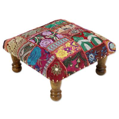 Embellished ottoman, 'Red Paisley Patch' - Fair Trade Embellished Foot Stool Ottoman from India