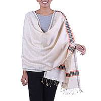 Silk shawl, 'Alabaster Sophistication' - Handwoven Fringed Silk Shawl in Alabaster from India