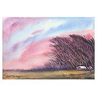 'Kalbaisakhi - The Storm' - Watercolor Painting of Storm Scene by Indian Artist