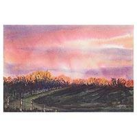'Path to Malda' - Evocative Watercolor Painting of Sunset Landscape
