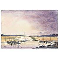 'End of the Day' - Subtle Watercolor on Paper Painting of River and Boats