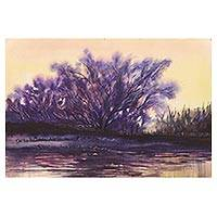 'The Village Tree' - Signed Watercolor Painting of Majestic Banyan Tree