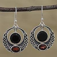 Onyx and garnet dangle earrings, 'Dancing Loops' - Onyx and Garnet Circular Dangle Earrings from India