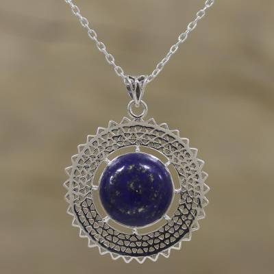 Lapis lazuli pendant necklace, 'Triangular Sun Rays' - Lapis Lazuli and Sterling Silver Necklace from India