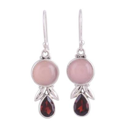 Garnet and Pink Chalcedony Dangle Earrings from India