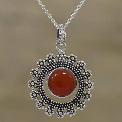 Carnelian pendant necklace, 'Bubbly Red Moon' - Carnelian and Silver Bubbly Pendant Necklace from India