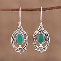 Onyx dangle earrings, 'Elliptic Green' - Green Onyx and Sterling Silver Dangle Earrings from India