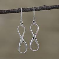 Sterling silver dangle earrings, 'Paths of Time' - Infinity Symbol Sterling Silver Dangle Earrings form India
