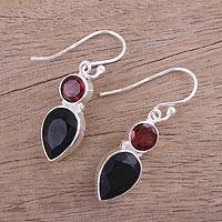 Onyx and garnet dangle earrings, 'Dazzling Alliance' - Handmade Black Onyx and Garnet Dangle Earrings from India