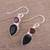Onyx and garnet dangle earrings, 'Dazzling Alliance' - Handmade Black Onyx and Garnet Dangle Earrings from India thumbail