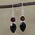 Onyx and garnet dangle earrings, 'Dazzling Alliance' - Handmade Black Onyx and Garnet Dangle Earrings from India (image 2b) thumbail