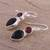 Onyx and garnet dangle earrings, 'Dazzling Alliance' - Handmade Black Onyx and Garnet Dangle Earrings from India (image 2c) thumbail