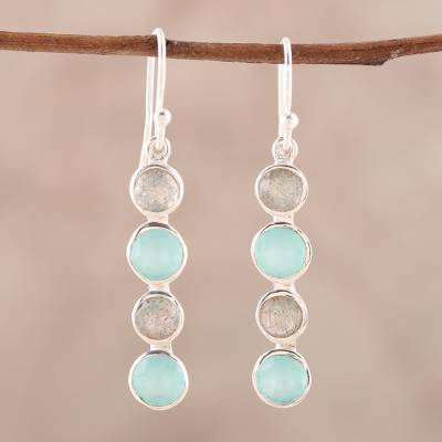 Labradorite and chalcedony dangle earrings, Trendy Orbs