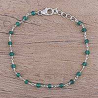 Onyx link bracelet, 'Beautiful Saga' - Handmade Adjustable Green Onyx Link Bracelet from India