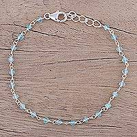 Chalcedony link bracelet, 'Beautiful Saga' - Handmade Adjustable Chalcedony Link Bracelet from India