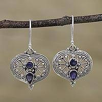 Iolite dangle earrings, 'Bubbling With Love' - Natural Iolite and Silver Dangle Earrings from India