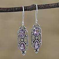 Amethyst dangle earrings, 'Lilac Ropes' - Amethyst Rope Motif Dangle Earrings from India