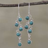Sterling silver dangle earrings, 'Juicy Vine' - Sterling Silver Chandelier Earrings from India