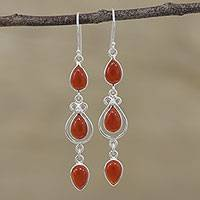Carnelian dangle earrings, 'Sizzling Drops' - Carnelian Link Dangle Earrings from India