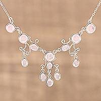 Rose quartz pendant necklace, 'Pink Gloss' - Elegant Rose Quartz Pendant Necklace from India