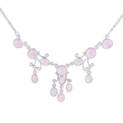 Elegant Rose Quartz Pendant Necklace from India