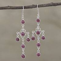 Garnet chandelier earrings, 'Majestic Fantasy' - Garnet and Silver Chandelier Earrings from India