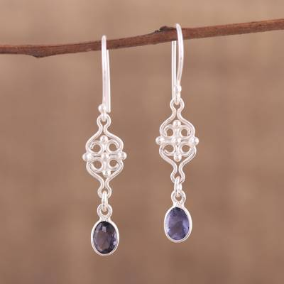 Iolite dangle earrings, 'Glistening Charm' - Iolite and Sterling Silver Dangle Earrings from India