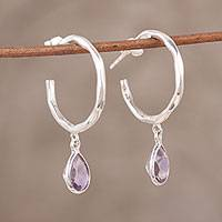 Amethyst dangle earrings, 'Crescent Drops' - Amethyst Half-Hoop Dangle Earrings from India