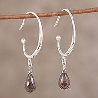 Smoky topaz dangle earrings, 'Trendy Drops' - Smoky Topaz Half-Hoop Dangle Earrings from India