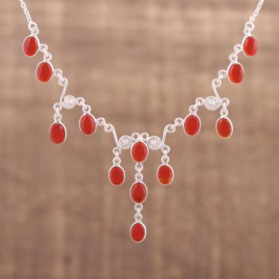Carnelian pendant necklace, 'Majestic Cascade' - Handmade Carnelian Link Pendant Necklace from India
