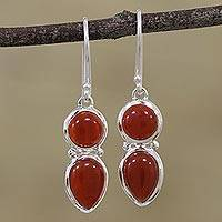 Carnelian dangle earrings, 'Fiery Spark' - Carnelian and Silver Dangle Earrings from India