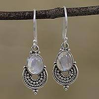 Rainbow moonstone dangle earrings, 'Undying Beauty' - Natural Rainbow Moonstone Dangle Earrings from India