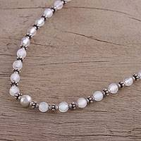 Rainbow moonstone beaded necklace, 'Transcendent Beauty' - Moonstone and Sterling Silver Beaded Necklace from India