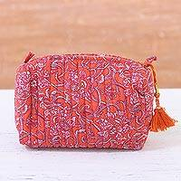 Cotton cosmetic bag, 'Floral Excitement' - Floral Cotton Cosmetic Bag in Strawberry from India