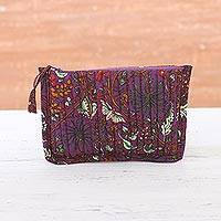Cotton cosmetic pouch, 'Aubergine Garden' - Floral Cotton Cosmetic Pouch in Aubergine from India