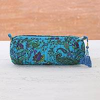 Cotton cosmetic bag, 'Garden Air' - Floral Cotton Cosmetic Bag in Turquoise from India