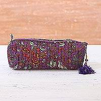 Cotton cosmetic bag, 'Aubergine Garden' - Floral Cotton Cosmetic Bag in Aubergine from India