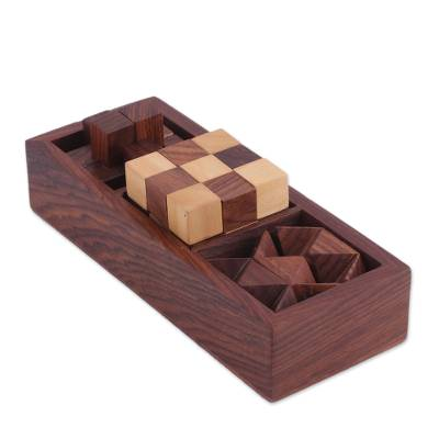 Handcrafted Wood Puzzles (Set of 3) from India