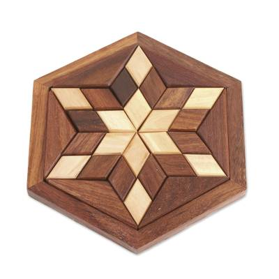 Handcrafted Star-Shaped Wood Puzzle from India