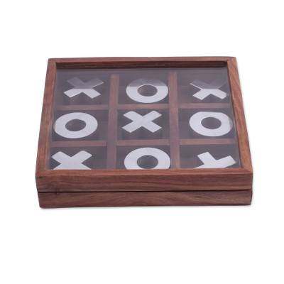 Handmade Wood and Aluminum Tic Tac Toe Game (7 Inch)